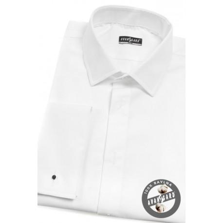 Luxusní bílá smokingová pánská košile ve střihu slim, na manžetové knoflíčky